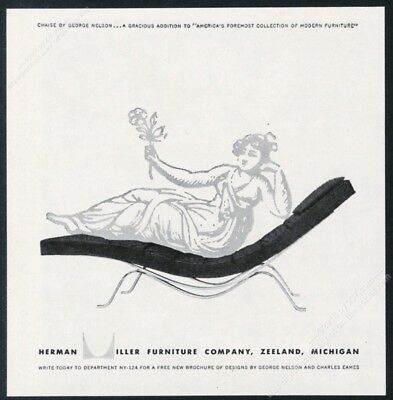 1954 Herman Miller George Nelson modern chaise photo vintage print ad