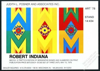 1978 Robert Indiana Mecca art Posner editions vintage print ad
