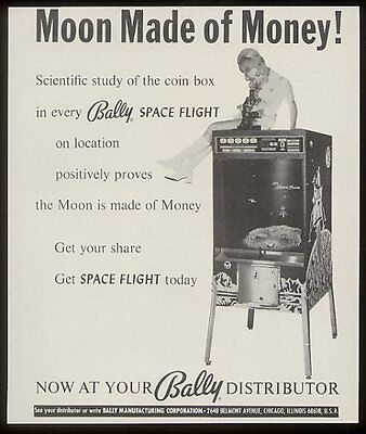 1970 Bally Space Flight arcade game machine photo vintage print ad