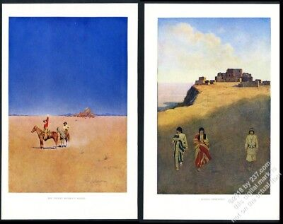 1902 Maxfield Parrish Pueblo Indian Dwellings Desert Without Water vintage print