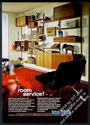 1967 Royal System modern wall cabinet shelving Poul Cadovius vintage print ad