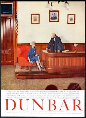 1958 Dunbar red winged chair court judge witness photo vintage print ad