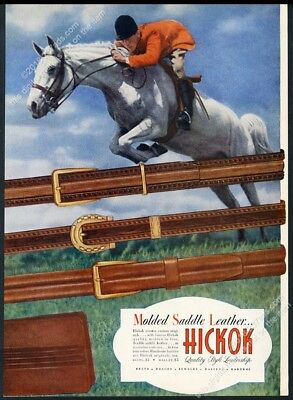 1946 horse jumping photo Hickok leather belts vintage print ad