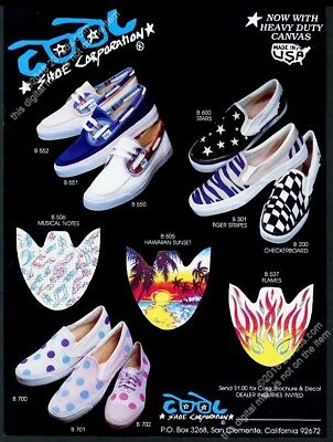 1983 Cool Shoes canvas surfer skateboarding shoes 9 style photo vintage print ad