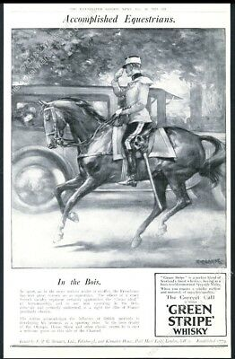 1924 horse French Cavalry officer art Green Stripe Scotch Whisky big UK print ad