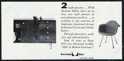 1953 Charles Eames chair George Nelson cabinet photo Herman Miller print ad