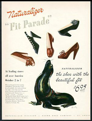 1944 seal sea lion William Bolin art Naturalizer women's shoes vintage print ad