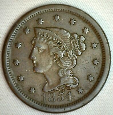 1854 Braided Hair Large Cent Copper Extra Fine Genuine US Coin M9 XF