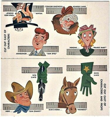 Advertising: Nabisco Shredded Wheat: Carded Cut-Outs: Cowboy Characters & Play