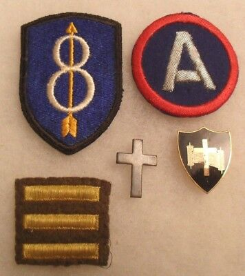 A Great Wwii Chaplain's Lot - Patches, Over Seas Bars, Wwii Di And Collar Brass