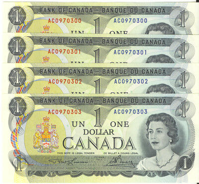 Bank of Canada 1973 $1 One Dollar Lot of 4 Consecutive Notes UNC AC Prefix