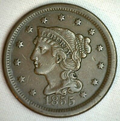 1855 Braided Hair Large Cent Copper EXTRA FINE Genuine 1c Penny US Coin XF M10