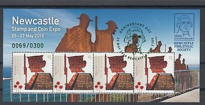 2018 Newcastle Stamp & Coin EXPO L/E of 300. Miniature sheet special overprint