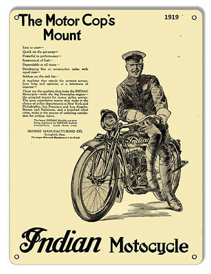 Indian Motorcycle Motor Cops Mount 1919 Metal Sign 9x12