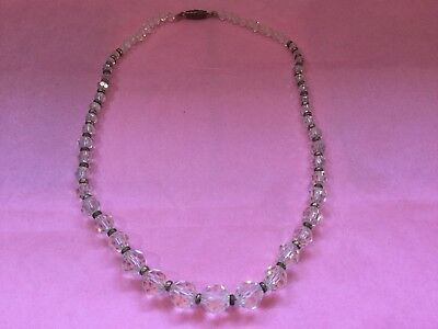 Vintage Antique Glass & Brass Bead Necklace,Cut Glass Faceted Crystal ,on String