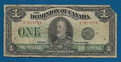 Dominion Canada $1 Dollar 1923 P-33 King George V Large Canadian Note