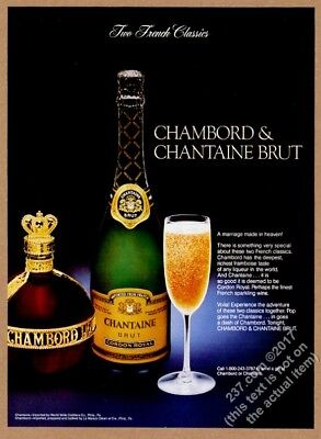1984 Chambord & Chantaine Brut bottle and drink photo vintage print ad
