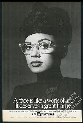 1986 Vanessa Williams photo L.A. Eyeworks glasses BIG vintage print ad