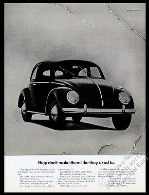 1968 VW Beetle classic Volkswagen 1949 car photo 13x10 vintage print ad