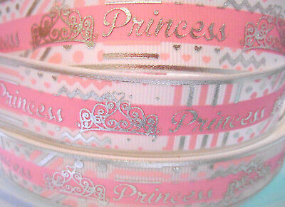 "2 or 5 Yds PRINCESS Silver Foil Grosgrain Ribbon 1"" 25mm Cake Card Craft Bow"