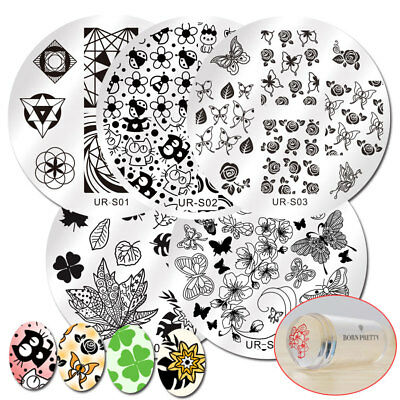 7pcs/set Nail Stamping Templates Round Stamp Plates Cat Butterfly with Stamper