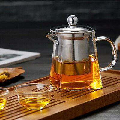 350-750ml Heat Resistant Clear Glass Teapot With Infuser Flower Green Tea Pot