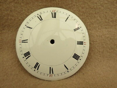 Antique French 8.9 Cm White Enamel Drum Clock Dial