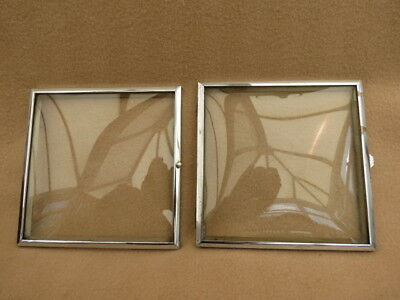 X 2 Vintage Chromed Square Clock Bezels And Glass