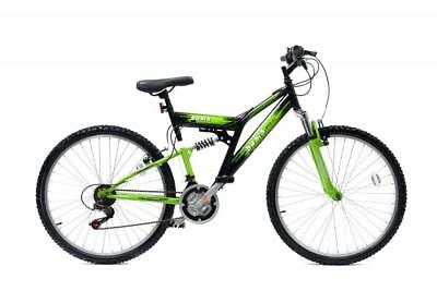 "Basis 2 Full Dual Suspension MTB Mens Unisex Mountain Bike 26"" Wheel 18 Sp Green"