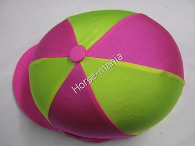 Fluorescent Yellow & Pink Riding Hat Silk Cover For Jockey Skull Caps One Size