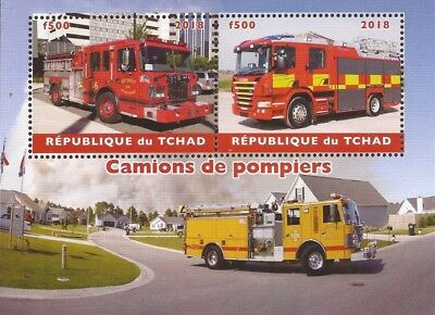 Chad - 2018 Fire Engines - 4 Stamp Sheet - 3B-544