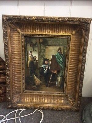 Beautiful Antique Dutch Oil painting in heavy gilded frame signed N. Ringnern