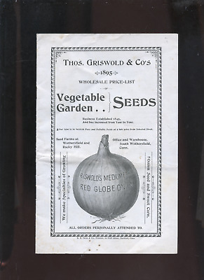 1895 Griswold Vegetable Garden Seed catalog, Wethersfield CT