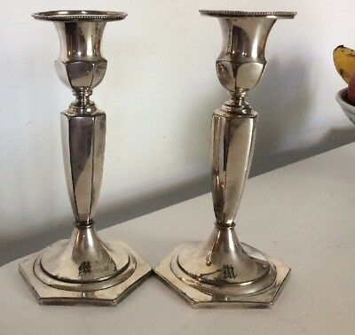 Pair Silver Plate American  Candlesticks Monogrammed 8 Inches Vintage