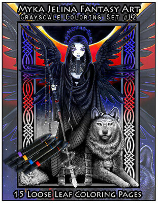 Myka Jelina Coloring Pages Gothic Fantasy Grayscale Set 12 Loose Leaf Pages