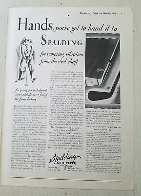 1929 you've got to hand it to Spalding kro Flite vintage golf clubs ad