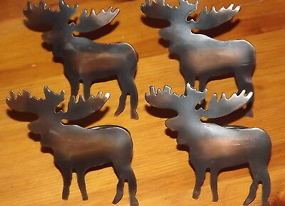Moose decor Moose napkin rings antique bronze color set of 4 metal