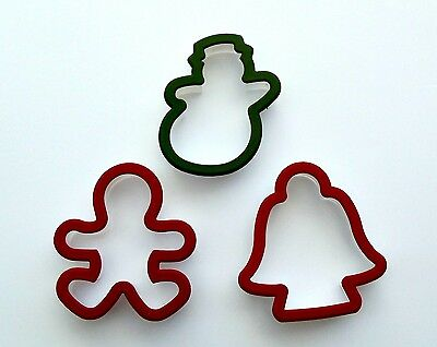 3 Pieces Cookie Biscuits Molds Cutters Bell Snowman and Baby Shape Plastic New