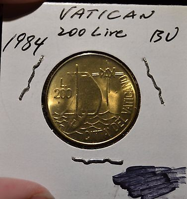 Vatican City 200 Lire Choice BU Coin 1984 John Paul II Pope - B70