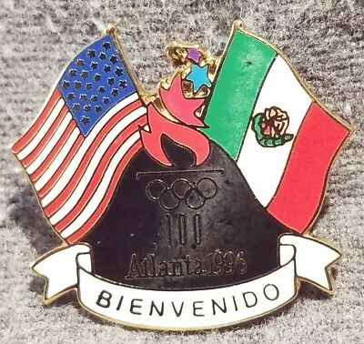 LMH Pin Pinback Lapel 1996 OLYMPICS Atlanta US MEXICO Flag Mexican Flags WELCOME