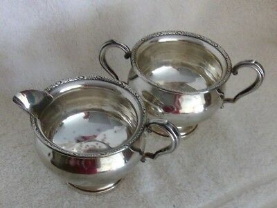 """Vintage FISHER STERLING Silver Cream~Sugar Bowl SET~Weighted Base~3"""" Tall"""