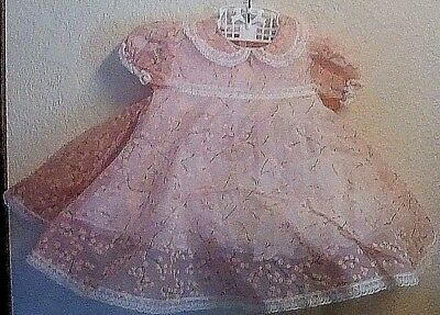 Vintage Baby Girl Pink Sheer Flocked Cherry Blossom Dress Full with Petticoat NR