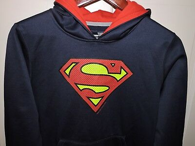 UNDER ARMOUR COLD GEAR LOOSE Boys Soft Polyester SUPERMAN Hoodie Navy Size YLG