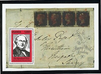 Uganda Scott #798 MNH S/S Sir Rowland Hill Penny Black PHILATELY CV$5+