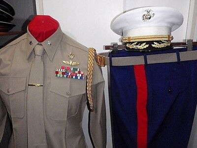 US Marine Corps Officers Summer Dress Uniform with Cap and Aiguillettes USMC