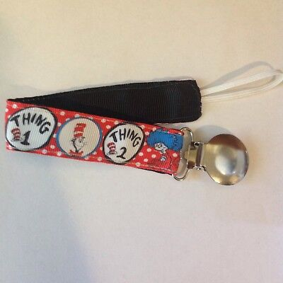 Baby Boy Girl Pacifier Clip Holder Leash Dr Seuss Cat In The Hat Things 1 2 Red