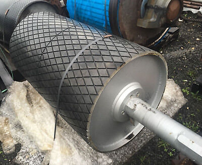 Very heavy duty  rubber covered conveyor roller and bearings 650mm x 1200mm