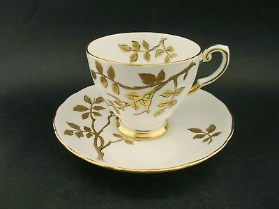 Tuscan Gold Vine Vintage English Bone China Demitasse Cup Saucer c1940 C9758