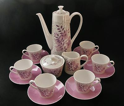 Royal Tuscan Retro Coffee Set for 6 c1960s Vintage China Pink Forest Glade