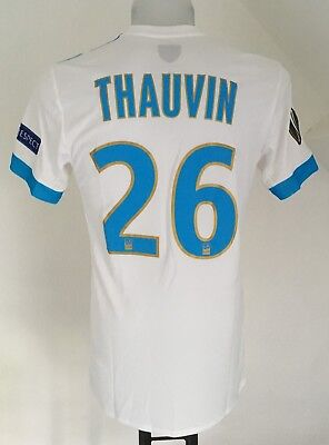 Olympic Marseille 17/18 S/s Home Shirt Thauvin 26 By Adidas  Medium Europa Badge
